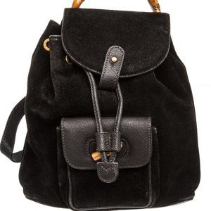 Gucci Black Suede Drawstring Bamboo Mini Backpack